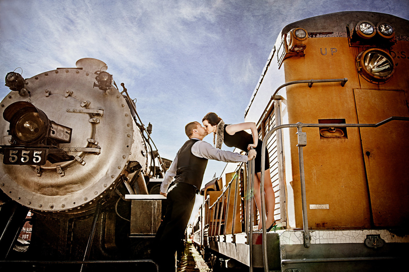 galveston engagement portrait session at train museum by steve lee photography