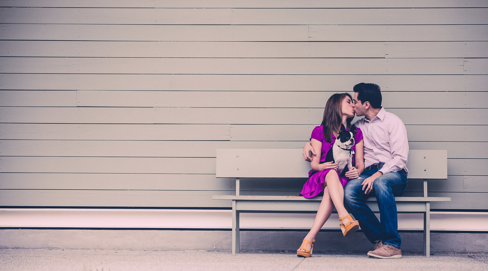 houston engagement session at menil museum with dog by steve lee photography